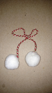 RED/WHITE/KELLY CORD BOW WITH WHITE POMPONS EACH END #9-10