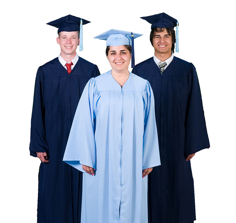 White Cap and Gown Graduation