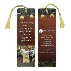 Custom  Holiday Bookmark Tassels with Tassels to Attach (Bundle of 100)