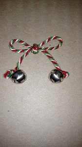 RED/WHITE/KELLY CORD BOW WITH W/ SILVER BELLS EACH END #34